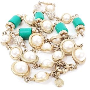 J. Crew Necklace with pearls + green barrel beads